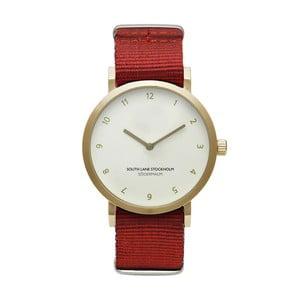 Unisex hodinky s červeným remienkom South Lane Stockholm Sodermalm Gold Big