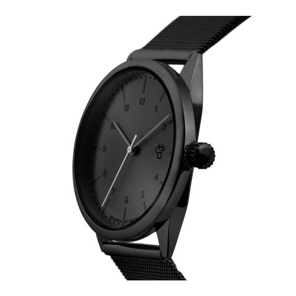 Čierne hodinky s metalickým ciferníkom CHPO Rawiya