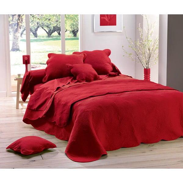 Prikrývka na posteľ Boutis Uni Rouge, 220x240 cm
