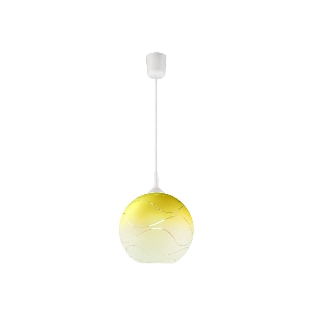 Žlté guľaté závesné svietidlo Lamkur Waves