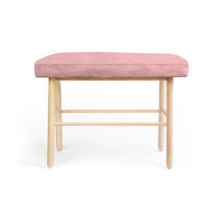 Stolička z borovicového dreva s ružovým zamatovým poťahom Velvet Atelier