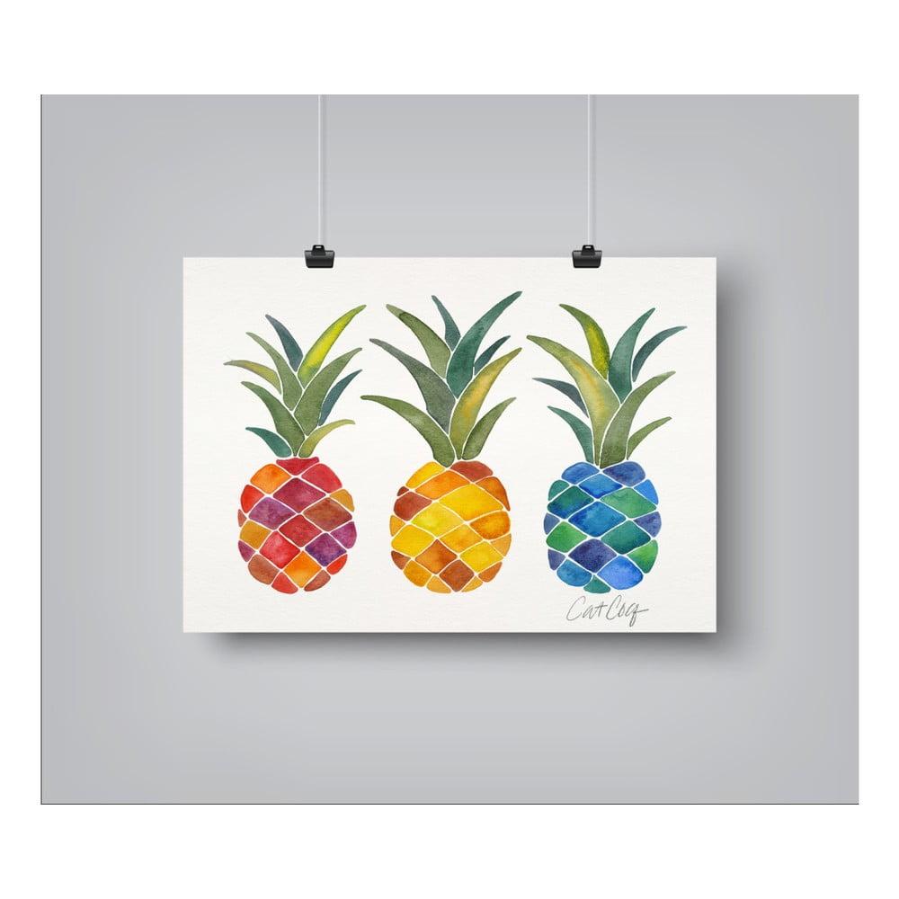 Plagát Americanflat Pineapples Rainbow, 30 x 42 cm