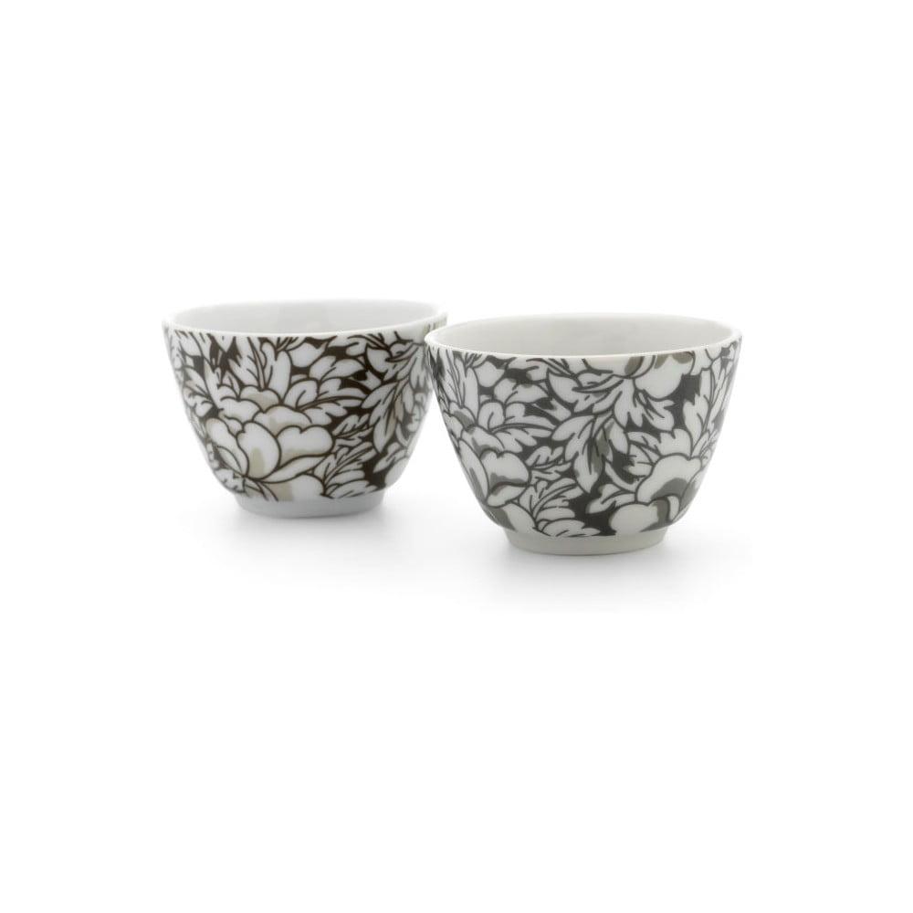 Sada 2 hnedých porcelánových hrnčekov na čaj Bredemeijer Yantai