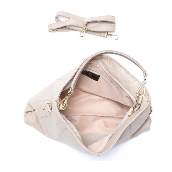 Kožená kabelka Caprice, sivohnedá