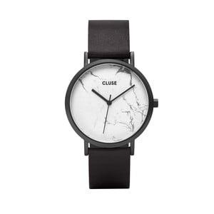 Dámske hodinky s čiernym koženým remienkom a bielym mramorovým ciferníkom dekoru Cluse La Roche