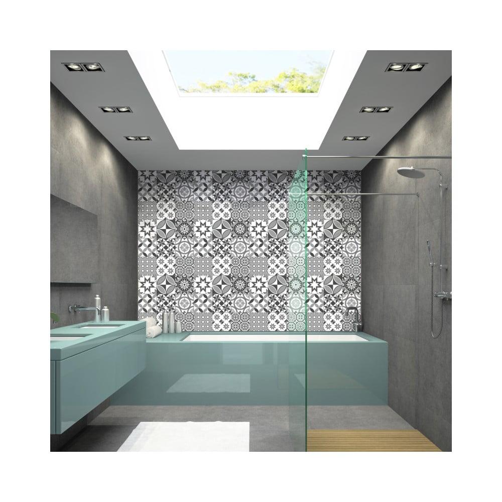 Sada 9 nástenných samolepiek Ambiance Wall Decal Tiles Azulejos Shades of Gray Sotchi, 15 × 15 cm