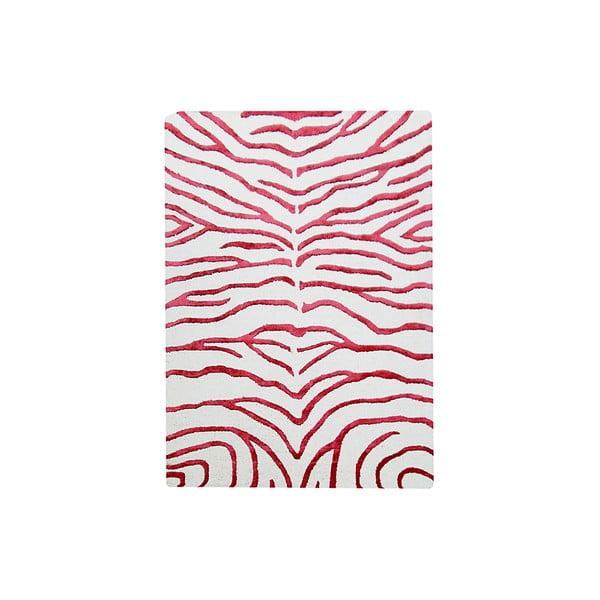 Ručne tkaný koberec Zebra, 153x244 cm, červený