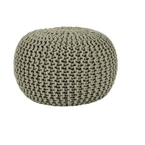 Olivovozelený pletený puf LABEL51 Knitted, ⌀50 cm