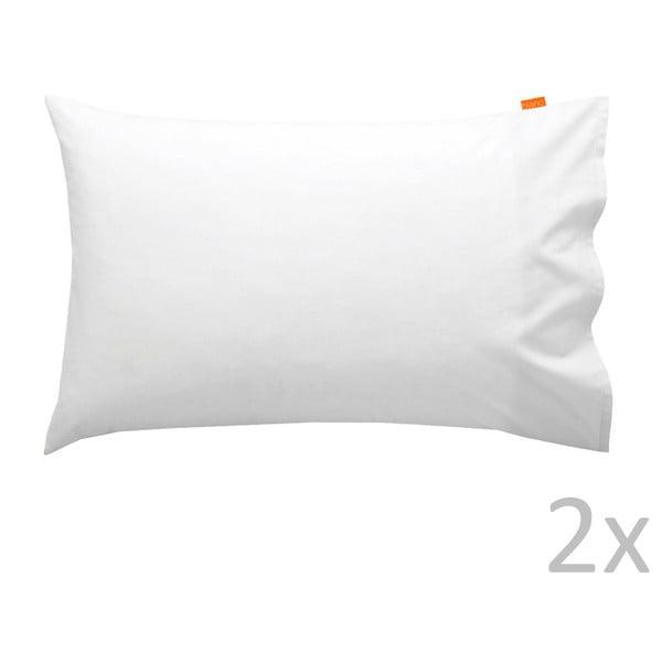 Sada 2 bavlnených bielych obliečok na vankúš HF Living Basic, 50x80cm
