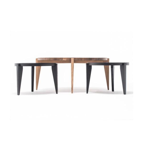 Dubový kávový stolík Bontri, 60x44 cm, čierny