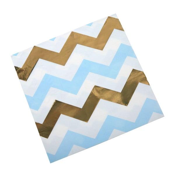 Sada 16 modrých papierových obrúskov Neviti Pattern Works Zig