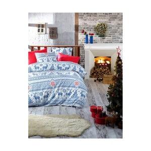 Vianočné bavlnené obliečky na jednolôžko s plachtou Emily, 160×220 cm