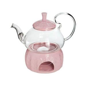 Sklenená čajová kanvička s ohrievačom na čajovú sviečku Bambum, 600 ml