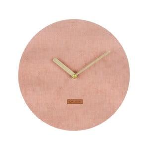 Ružové nástenné hodiny s menčestrom Karlsson Corduroy, Ø25cm