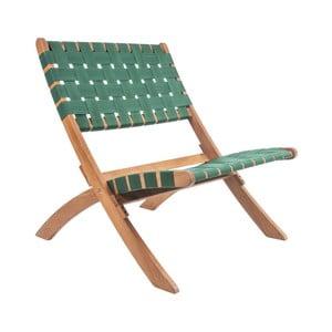 Zelená stolička z akáciového dreva s nylonovým poťahom Leitmotiv Weave