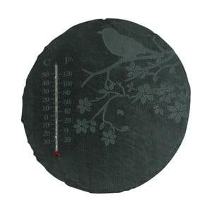 Bridlicový okrúhly teplomer s motívom vtáčika Esschert Design, ⌀22 cm