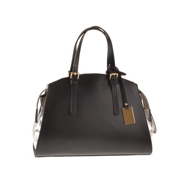 Kožená kabelka Emilio Masi Aston, strieborná/čierna