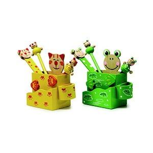 Sada 2 stojanov na písacie potreby Legler Cat & Frog
