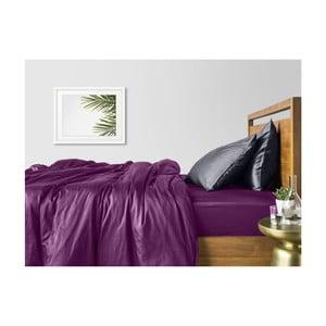 Fialovo-sivé bavlnené obliečky na dvojlôžko s fialovou plachtou COSAS Tarra, 200×220cm