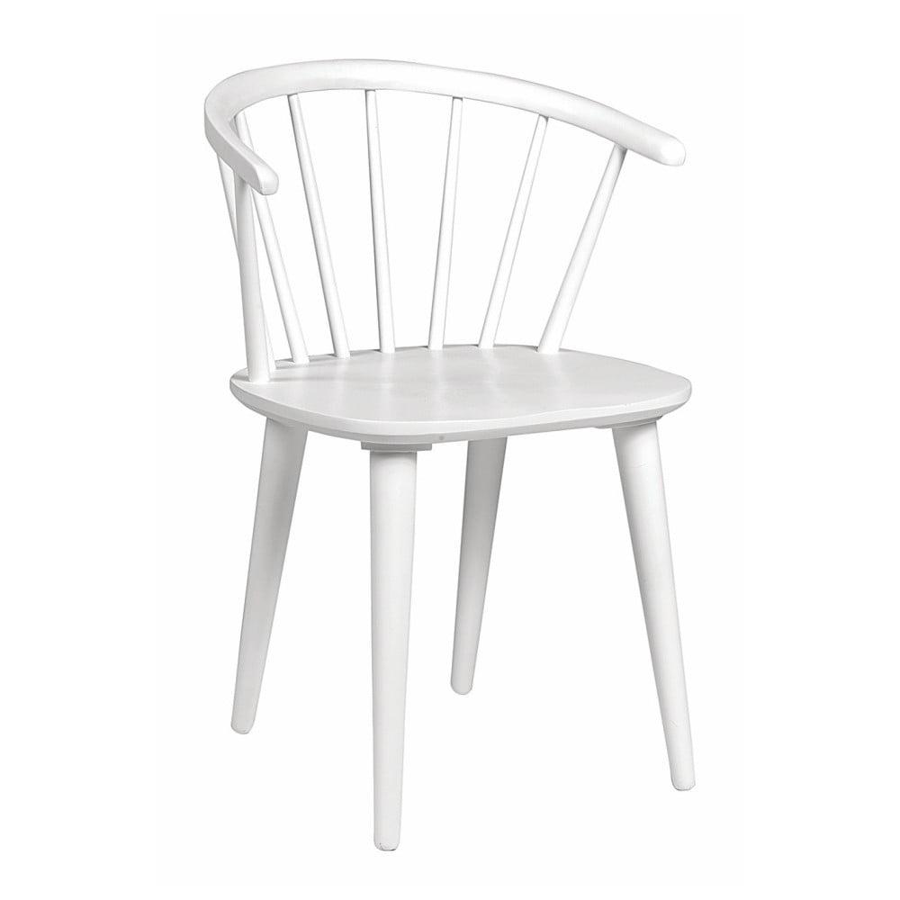 Biela jedálenská stolička z dreva kaučukovníka Rowico Carmen
