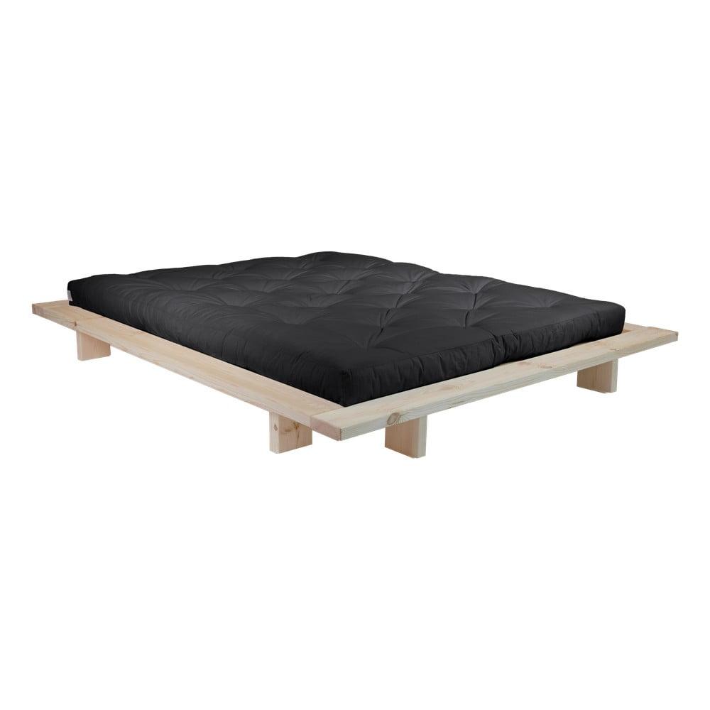 Dvojlôžková posteľ z borovicového dreva s matracom Karup Design Japan Double Latex Raw/Black, 140 × 200 cm