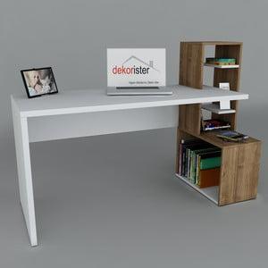 Pracovný stôl Side White/Walnut, 60x120x107 cm