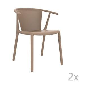 Sada 2 béžových záhradných stoličiek Resol Steely
