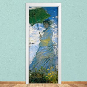Samolepka na dvere LineArtistica Donna Con Parasole, 80×215 cm