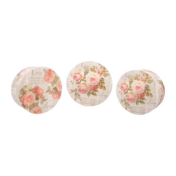 Sada 3 úložných krabíc Love Roses