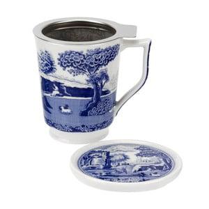 Bielo-modrý porcelánový hrnček so sítkom Spode Blue Italian, 350 ml