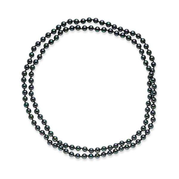 Čierny perlový náhrdelník Pearls Of London Mystic, dĺžka 90 cm