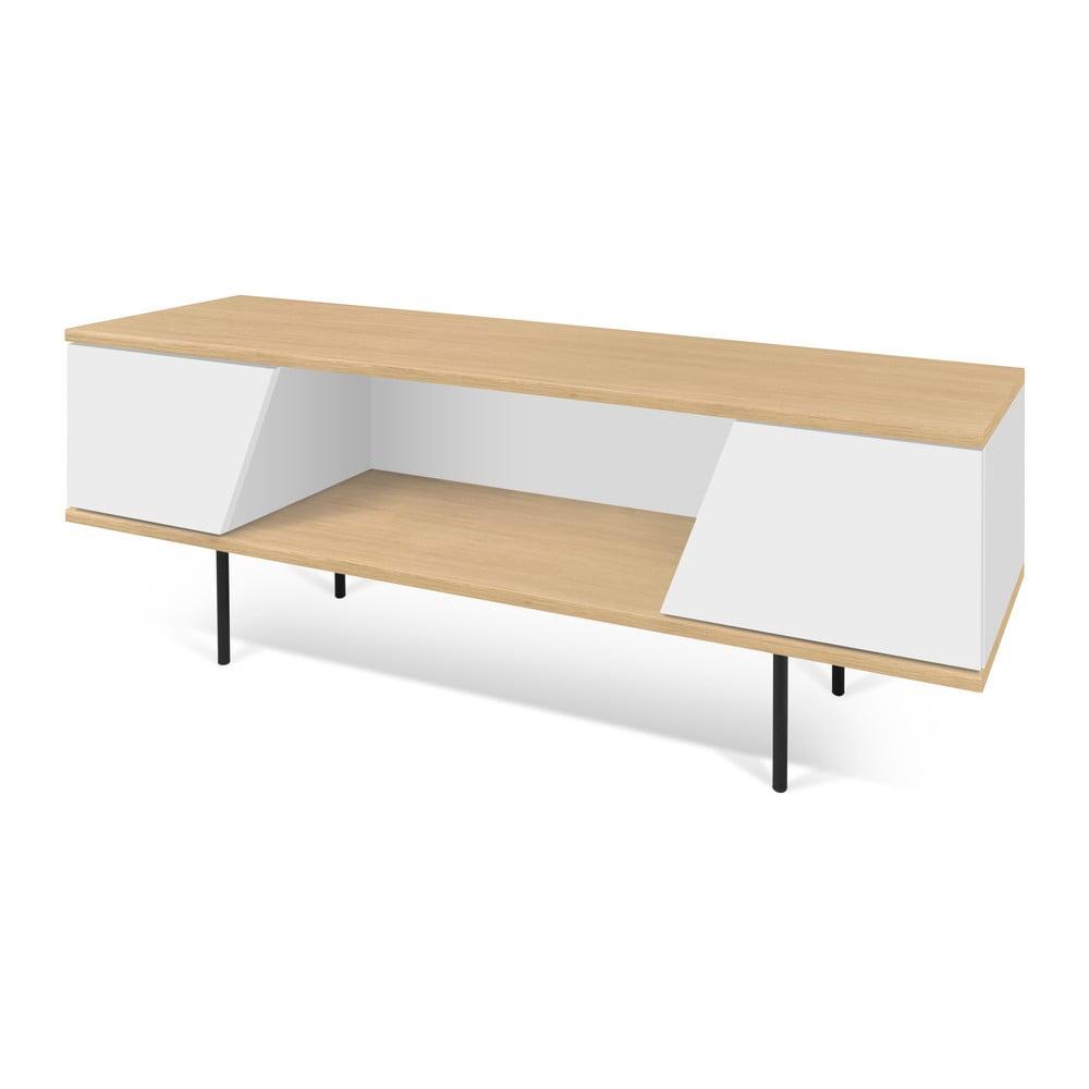 Bielo-hnedý televízny stolík TemaHome Dixie, 140 × 51 cm