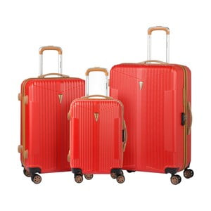 Sada 3 červených kufrov na kolieskach Murano Europa