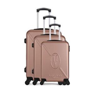 Sada 3 ružových cestovných kufrov na kolieskach VERTIGO Cadenas Integre Roues