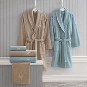Set dámskeho a pánskeho župana, uterákov a osušiek v béžovej a modrej farbe Family Bath