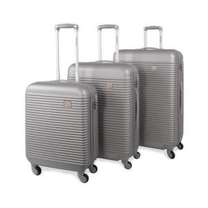 Sada troch strieborných cestovných kufrov Jaslen