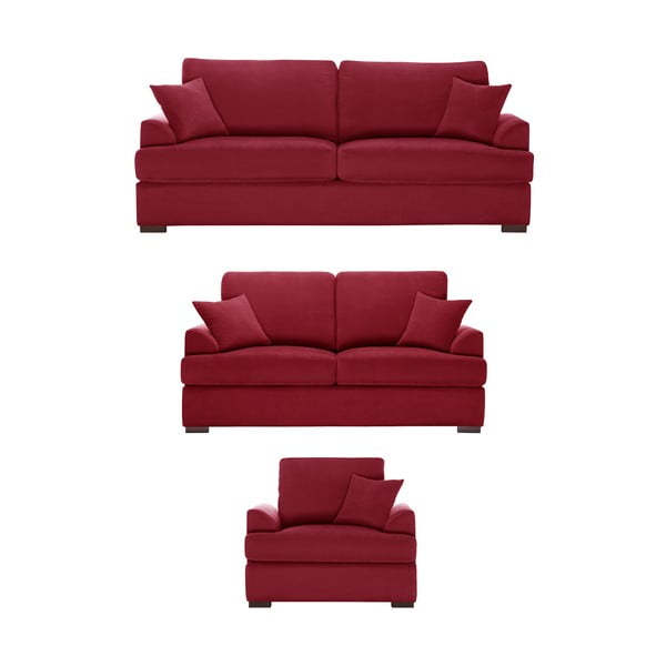Trojdielna sedacia súprava Jalouse Maison Irina, červená