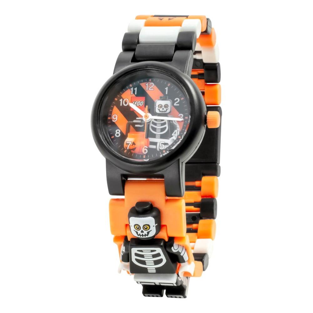 Čierne náramkové hodinky so skladacím remienkom a minifigúrkou LEGO® Skeleton