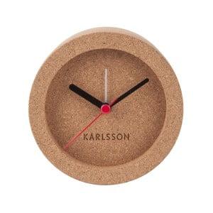 Hnedé stolové korkové hodiny s budíkom Karlsson Tom