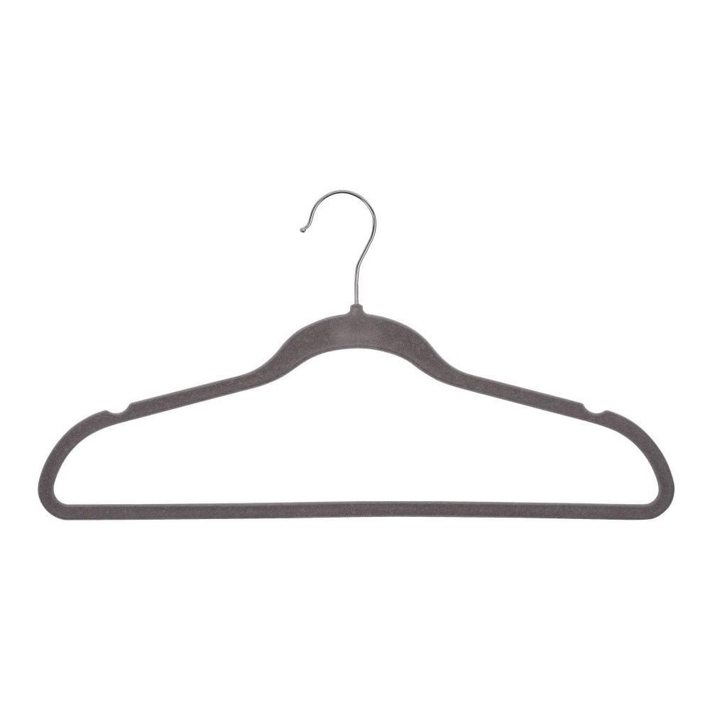 Sada 5 sivých plastových vešiakov na oblečenie Wenko Flocking