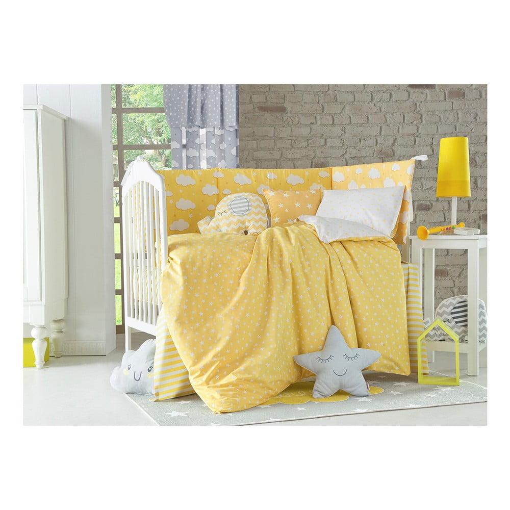 Žlté detské bavlnené obliečky s plachtou na jednolôžko Apolena Carino, 90 x 120 cm