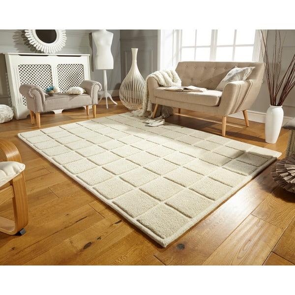 Vlnený koberec Blocks 80x150 cm, svetlý