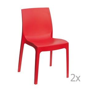 Sada 2 červených jedálenských stoličiek Castagnetti Rome