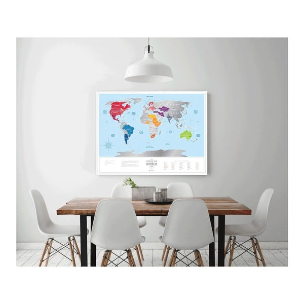Stieracia mapa sveta Scratch Map of the World Silver