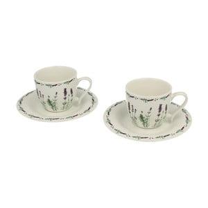 Set 2 porcelánových hrnčekov s tanierikmi Lavender