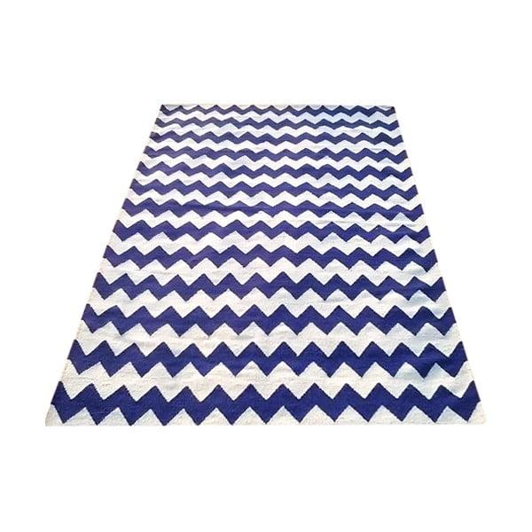 Vlnený koberec Kilim Design Two Blue, 160x230 cm
