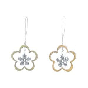 Sada 2 závesných dekorácií v tvare kvetiny Ego Dekor, 11 x 11,5 cm