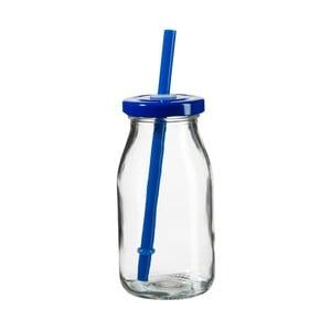 Fľaša na smoothie s modrým viečkom a slamkou SUMMER FUN II, 200ml