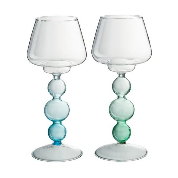 Sada 2 svietnikov Glass Ball, 9x20 cm