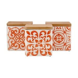 Sada 3 keramických dóz na potraviny s bambusovým vrchnákom a oranžovým vzorom Ladelle Coventry
